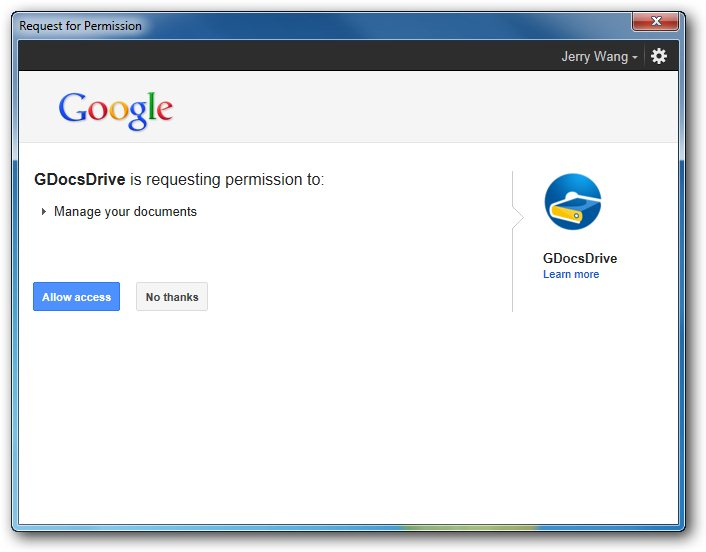 GDocDrive OAuth Sign In - Google docs sign in